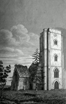 ANTIQUE PRINT: LIMINGTON CHURCH, SOMERSET.