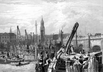 ANTIQUE PRINT: OLD LONDON BRIDGE WITH COFFER DAMS, THE TOWER OF ST. MAGNUS CHURCH &C.