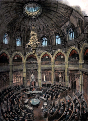 ANTIQUE PRINT: THE GUILDHALL – COUNCIL CHAMBER.