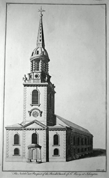 ANTIQUE PRINT: THE NORTH EAST PROSPECT OF THE PARISH CHURCH OF ST. MARY AT ISLINGTON.