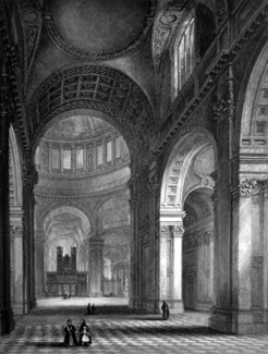ANTIQUE PRINT: ST. PAUL'S CATHEDRAL. THE NAVE AND CHOIR.