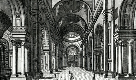 ANTIQUE PRINT: INTERIOR OF ST. PAULS CATHEDRAL.
