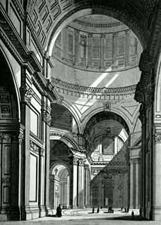 ANTIQUE PRINT: 92. INTERIOR OF ST. PAUL'S FROM UNDER THE DOME.