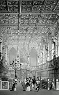 ANTIQUE PRINT: INTERIOR OF THE HOUSE OF LORDS.