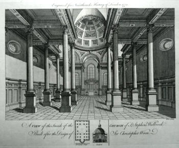 ANTIQUE PRINT: A VIEW OF THE INSIDE OF THE CHURCH OF ST. STEPHEN'S WALBROOK. BUILT AFTER THE DESIGN OF SIR CHRISTOPHER WREN.