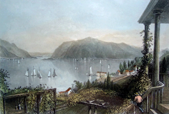 ANTIQUE PRINT: VIEW FROM RUGGLE'S HOUSE, NEWBURGH. (HUDSON RIVER.)