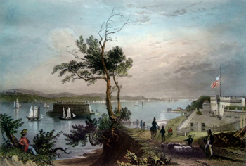 ANTIQUE PRINT: THE NARROWS. (FROM FORT HAMILTON.)