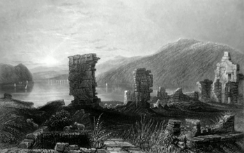 ANTIQUE PRINT: VIEW OF THE RUINS OF FORT TICONDEROGA.
