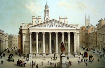 ANTIQUE PRINT: THE ROYAL EXCHANGE.