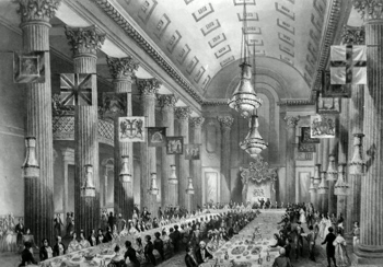 ANTIQUE PRINT: EGYPTIAN HALL, MANSION HOUSE. THE WILSON BANQUET.