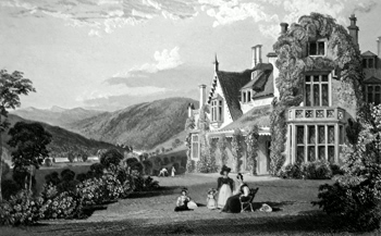 ANTIQUE PRINT: ENDSLEIGH, MILTON ABBOT, DEVONSHIRE, THE RESIDENCE OF HIS GRACE THE DUKE OF BEDFORD, TO WHOM THIS PLATE IS MOST RESPECTFULLY DEDICATED, BY THE PUBLISHERS.