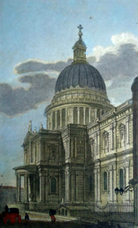 ANTIQUE PRINT: ST. PAUL'S CATHEDRAL. FROM THE SOUTH EAST.