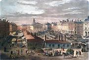 ANTIQUE PRINT: COVENT GARDEN MARKET ABOUT 1820.