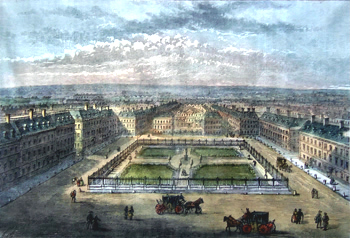ANTIQUE PRINT: SOHO SQUARE, ABOUT 1700.