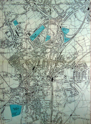 ANTIQUE MAP: [CROYDON, ETC].