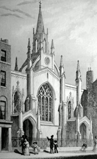 ANTIQUE PRINT: NEW CHURCH, LITTLE QUEEN ST. HOLBORN.