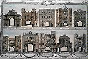 Antique print of the Gates of the City of London
