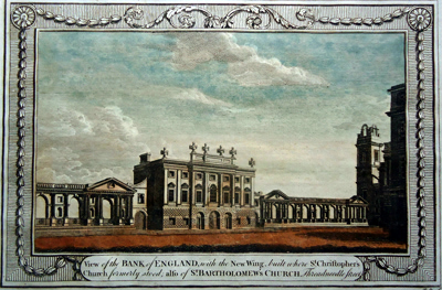 ANTIQUE PRINT: VIEW OF THE BANK OF ENGLAND, WITH THE NEW WING, BUILT WHERE ST. CHRISTOPHER'S CHURCH FORMERLY STOOD; ALSO ST. BARTHOLOMEW'S CHURCH, THREADNEEDLE STREET.