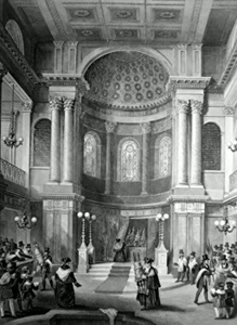 ANTIQUE PRINT: JEWISH SYNAGOGUE, GREAT ST. HELEN'S. CELEBRATION OF THE FEAST OF THE TABERNACLES.