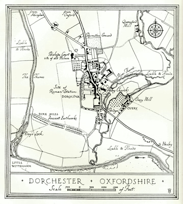 ANTIQUE MAP: DORCHESTER : OXFORDSHIRE.