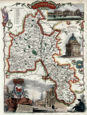 Antique map of Oxford