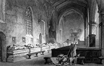 ANTIQUE PRINT: AISLE OF THE TOMBS, CHESTER-LE-STREET CHURCH, DURHAM.