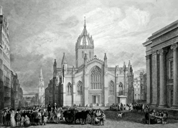 Antique print of Edinburgh