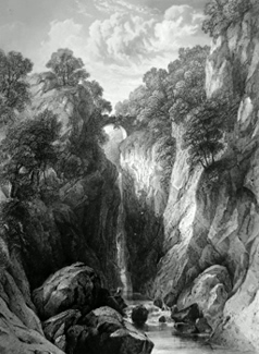 ANTIQUE PRINT: THE RUMBLING BRIDGE ON THE BRAN.