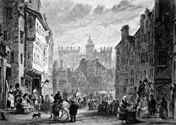 ANTIQUE PRINT: HERIOT'S HOSPITAL, (AS SEEN FROM THE FOOT OF WEST BOW) EDINBURGH.