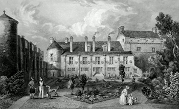 ANTIQUE PRINT: FALKLAND PALACE. FROM THE COURT YARD.