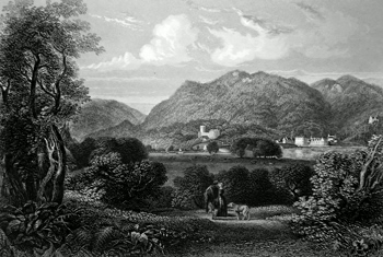 ANTIQUE PRINT: DUNKELD FROM TORRHILL.