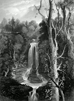 ANTIQUE PRINT: FALLS OF ACHARN.