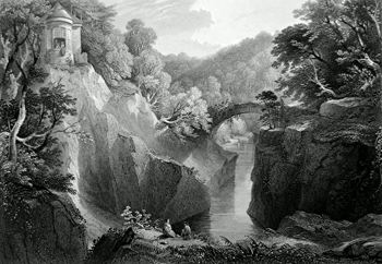 ANTIQUE PRINT: HERMITAGE AT DUNKELD.