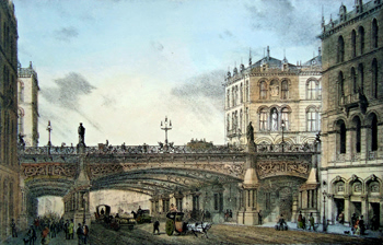 Antique print of London : Holborn Viaduct