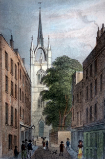 Antique print of St. Dunstan's in the East