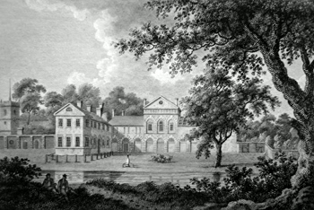 Antique print of Hovingham Hall, near Malton