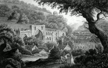 Antique print Rievaulx Abbey near Thirsk, Yorkshire