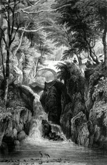ANTIQUE PRINT: THE LOWER FALL AT RYDAL, WESTMORLAND.