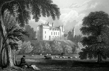 Antique print of Airth Castle, Falkirk