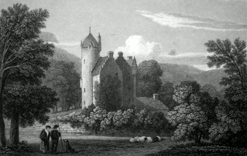 ANTIQUE PRINT: GRANDTULLY CASTLE, PERTHSHIRE.