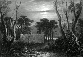 ANTIQUE PRINT: BURIAL PLACE OF THE MACNABS.