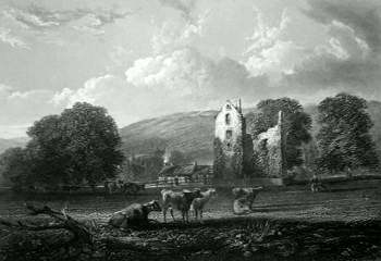 ANTIQUE PRINT: COMRIE CASTLE.