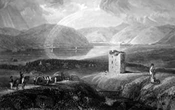 ANTIQUE PRINT: ST. MARY'S LOCH & DRYHOPE TOWER.