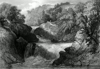 ANTIQUE PRINT: THE FALLS OF LOCHY.