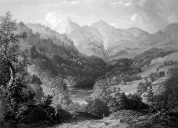 ANTIQUE PRINT: SCENE ON THE TUMMEL NEAR BENVRACKIE.