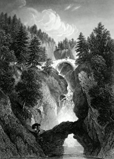 ANTIQUE PRINT: FALLS OF THE BRUAR.