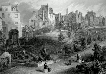 ANTIQUE PRINT: GREYFRIARS CHURCHYARD. EDINBURGH.