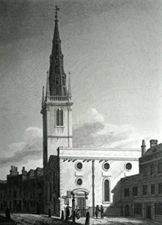 ANTIQUE PRINT: ST. MARGARET PATTEN'S, UNITED WITH ST. GABRIEL FENCHURCH STREET.