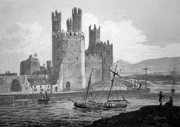ANTIQUE PRINT: EAGLES TOWER. CAERNARVON CASTLE.