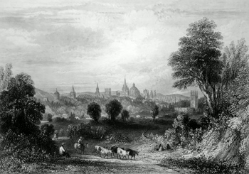 ANTIQUE PRINT: OXFORD, FROM THE HENLEY ROAD.